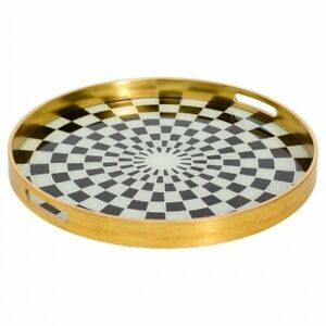 Circular Gold Serving Tray With Chequer Design-Available in Large and Small