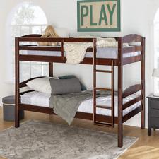We Furniture Classic Wood Twin Bunk Kids Bed Bedroom, Espresso