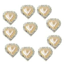 10 Crystal Pearl Flatback Buttons Wedding Embellishment Accessory Champagne