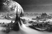 Fantasy World - Black And White Landscape Home Wall Art Poster & Canvas Pictures