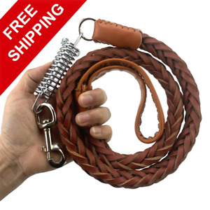 Leather Retractable Dog Leashes Dog Weaving Hauling Rope Shock Resistant Spring