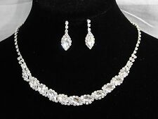 Silver Clear Marquise,Round Rhinestones Crystal Necklace and Earrings Bridal Set