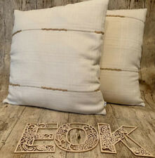 45cm Cotton Textured Check With Twine Handmade Cushion Cover Square Classic