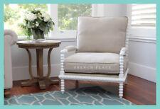 *In Stock!* NEW Hamptons Style Bobbin Armchair white birch frame beige linen