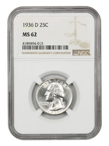 1936-D 25c NGC MS62 - Key Date - Washington Quarter - Key Date