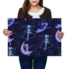 A2 | Magical Flying Fairies Purple - Size A2 Poster Print Photo Art Gift #14424