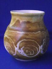 Aviemore Scotland Studio Art Pottery Hand Painted Vase Swirl Design Yellow Sand