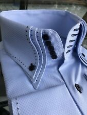 MorCouture Sky Navy Centipede Triple High Collar Shirt