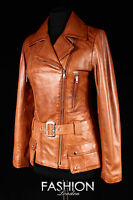 PRAGUE Women Real Leather Belted Jacket Tan Wax Classic Mid Length Nappa Jacket