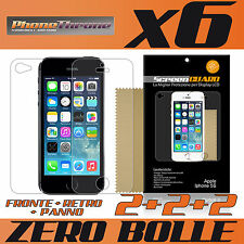 6 pz PELLICOLA per IPHONE 5S FRONTE + RETRO + PANNO Protettiva Display per APPLE