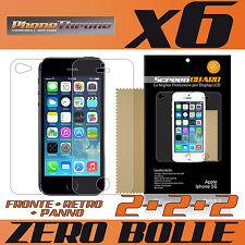 6 pz PELLICOLA per IPHONE 5S FRONTE + RETRO + PANNO Protettiva Display per APPLE