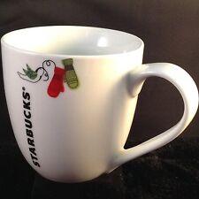 Starbucks Coffee Mug Holiday Christmas Mittens Bird 2011 Barrel White 13 Oz