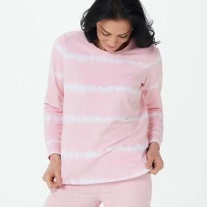 Denim & Co. Tie-Dye French Terry Long-Sleeve Sweatshirt Pale Pink