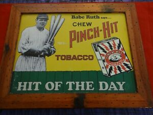 """1980's BABE RUTH PINCH HIT TOBACCO FRAMED TIN SIGN HIT OF THE DAY 18.5""""x14.75"""""""