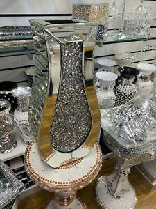 Diamond Crushed Crystal Sparkly Silver Mirrored vase 40cm