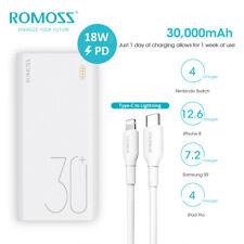 ROMOSS 30000mAh Power Bank 3A PD QC de tipo C Batería Externa + Cable Lightning-USB-C