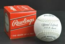 Vintage Rawlings Mc132 Official Softball Leather Cover Asa Approved White Cover