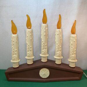 Vtg Mid-Century Christmas 5 Candle FLAME TOP BULBCandelabra Blow Mold Light Lamp