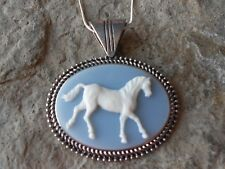 HORSE CAMEO NECKLACE - HORSE LOVERS  - SKY BLUE - HORSE COLLECTOR