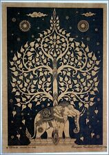Thai traditional art of Bodhi tree by printing on sepia paper_6