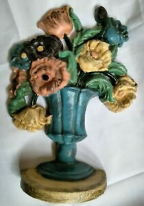 Vintage Large Cast Iron Door Stop Flowers Floral Bouquet Pink Yellow Blue Green