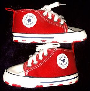BRAND NEW STAR BOY / GIRL CANVAS INFANT HIGH TOP CRIB SHOES / SNEAKERS - SIZE 3