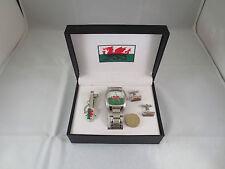 Reduced Wales Cymru flag Rugby Football Wrist Watch Tie Pin and Cufflinks set #5
