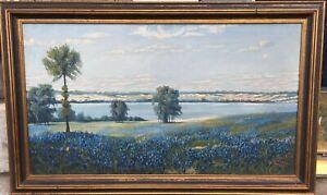 Vtg Original Framed Oil Painting Texas Bluebonnets, Listed Artist Henry Einfeldt