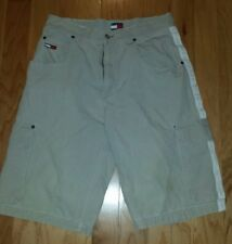 Vtg Tommy Hilfiger Khaki Cargo Shorts Size 32 Tan Flag Patch Spell Out Down Leg.