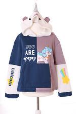 ts-133 Licorne Unicorn Bleu Pourpre pastel gothique lolita Pull sweat Kawaii