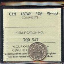 1874H Canada Ten Cents - ICCS VF-30 Cert #XQD947