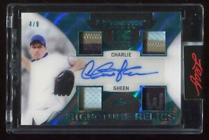 2021 LEAF ULTIMATE SPORTS SIGNATURE EMERALD 4 PATCH AUTOGRAPH CHARLIE SHEEN 4/9