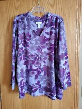 Women's Denim and Company New lightweight Fleece Purple Floral Top Plus Size 3x