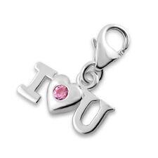 925 Sterling Silver -  'Pink CZ - I LOVE U' - Clip On Charm fits link bracelet