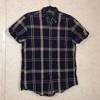 J.Crew Secret Wash Button Down Shirt Mediterranean Plaid Men's Size S