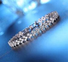 Women Jewelry Crystal Rhinestone Tennis Bracelet Bangle Wedding Bridal Wristband