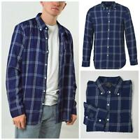 American Eagle Mens Navy Check Shirt Thick Cotton Winter Weight Super Quality