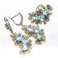 Limited Set !!!! Jewelry SET Natural 8x6 Blue Topaz 925 Sterling Silver RVSS14