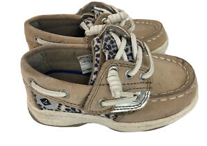 Sperry Topsiders Ivyfish Jr Kids Girls Baby 6m Deck Shoes Tan Leopard Glitter