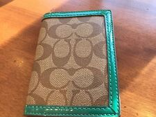 New Coach Park Signature C Passport Case Khaki/Green  #65699