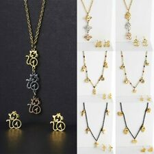 Gold Stainless Steel Jewellery Set Bee Cat Inifity 8 Pendant Necklace Earrings