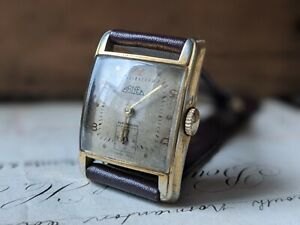 Gents Vintage Arnex Bascula Curved Art Deco Subsidiary Dial Dress Watch Working