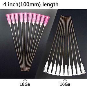 100mm Extra Long Blunt Paste Adhesive Glue Dispensing Needle Syringe Tip 16G/18G