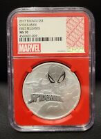 2017 $1 Tuvalu Marvel Spiderman NGC MS70 First Releases 1oz .9999 Silver Coin