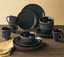 New ListingDinnerware Set 16 Piece Stoneware Serving Dishes Black Speckled Stylish Durable