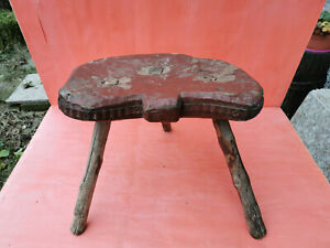OLD ANTIQUE PRIMITIVE WOODEN WOOD HANDMADE STOOL CHAIR TRIPOD LEGGED RUSTIC 19th
