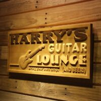 wpa0280 Name Personalized GUITAR LOUNGE Music Band Wood Engraved Wooden Sign