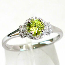 Simple 925 Silver Round Peridot Gemstone Ring Wedding Women Jewelry Gift Sz 6-10