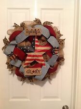 Patriotic,4th of July,Memorial Day,Labor Day,Red, White,&Blue star burlap wreath