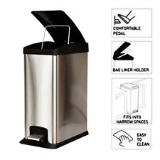 12l Single Slim Stainless Steel Effect Pedal Bins Removable Inner Recycling Bin